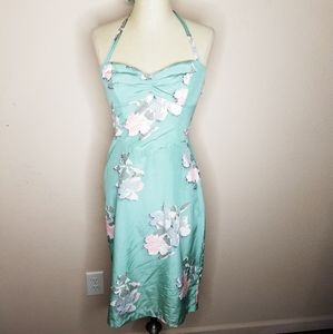 Betsey Johnson | Green Floral Silk Halter Dress